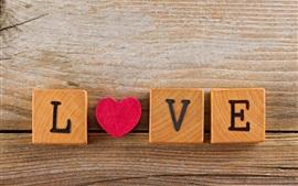 Любовь, день, романтичный, деревянные кубики Валентина
