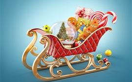Aperçu fond d'écran Joyeux Noël, traîneau du Père Noël, cadeaux