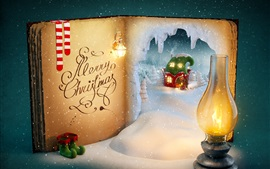 Preview wallpaper Merry Christmas, magic book, snow, lights