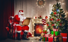 Merry Christmas, santa claus, gifts, christmas tree, decoration, fireplace