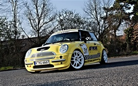 Preview wallpaper Mini Cooper yellow car front view