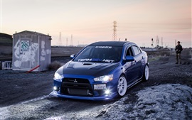 Mitsubishi EVO blue car, lights, drift
