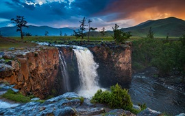 Preview wallpaper Mongolia, waterfall, trees, clouds, mountains, dusk