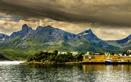 Preview wallpaper Mountains, clouds, houses, fjord, bay, Norway
