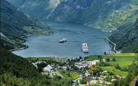 Preview wallpaper Mountains, houses, fjord, boats, Norway
