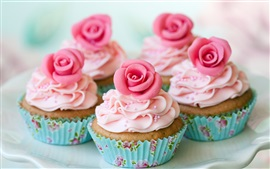 Preview wallpaper Muffins, cake, pink rose flowers, cream, dessert