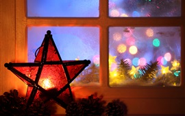 New Year, Christmas, 2017, lights, candle, five-pointed star, window