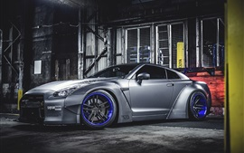 Nissan GT-R silver car side view