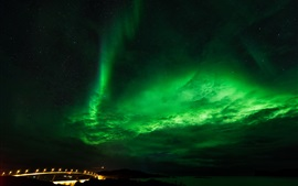 Northern lights, stars, night, sky, clouds, bridge, lights