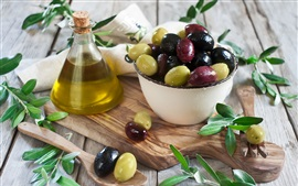 Olives, oil, leaves, fruit