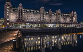 Осло, Норвегия, дом, ночь, огни, отражение воды, река