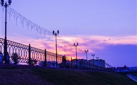 Preview wallpaper Penza, Russia city, sunset, lights, fence, clouds