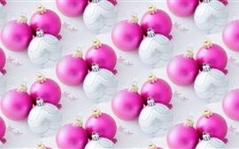 Aperçu fond d'écran Boules de Noël roses et blanches