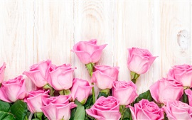 Preview wallpaper Pink rose flowers, wood background