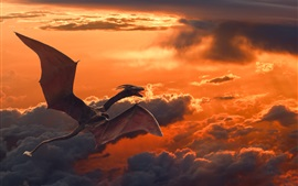 Pterosaurs flying in sky, dragon, clouds, dusk