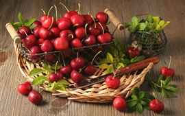 Red cherry, mint, leaves, basket, knife