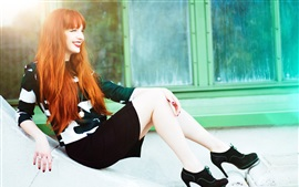 Preview wallpaper Red hair girl, smile, legs, rest