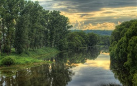Preview wallpaper River, trees, clouds, dusk, nature scenery