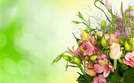 Roses, eustoma, bouquet, flowers, green background