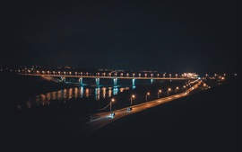 Russia, Kaluga, bridge, river, night, lights