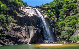 Sao Paulo Waterfall in Brazil, cliff, rocks, plants