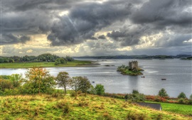 Preview wallpaper Scotland, Castle Stalker, island, bay, clouds, grass, trees