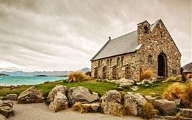 Escócia, igreja, pedras, casa, lago, montanhas, estrada