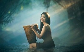 Preview wallpaper Smile Asian girl, basket, water