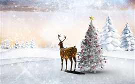 Preview wallpaper Snow, winter, deer, Christmas tree, balls, forest, snowflakes, art picture