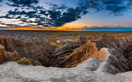 Preview wallpaper South Dakota, Badlands National Park, USA, mountains, rocks, clouds, sunset