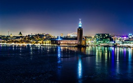Stockholm, Sweden, city night, lights, houses, river, water reflection, winter