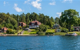 Stockholm, Sweden, houses, trees, shore, river, pier
