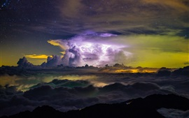 Preview wallpaper Storm, clouds, night, mountains, sky