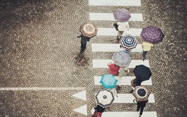 Preview wallpaper Street, crosswalk, people walking, umbrellas, rainy day