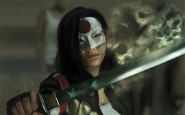 Suicide Squad, girl, katana, sword, mask, art picture
