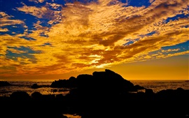 Preview wallpaper Sunset, sea, clouds, stones, nature landscape
