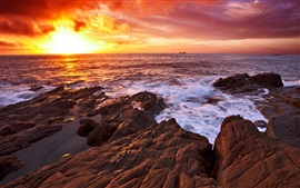 Sunset sea, coast, rocks, red sky, clouds