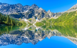 Preview wallpaper Tatra Mountains, lake, water reflection, stones, Poland