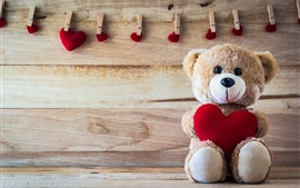 Teddy bear, love hearts, romantic, clothespin