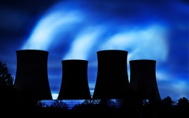 Thermal power plant, cooling tower, silhouette, night