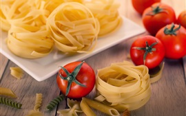 Preview wallpaper Tomatoes, pasta, noodles, food