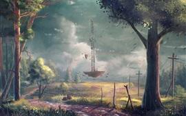 Деревья, линии электропередач, искусство рисования