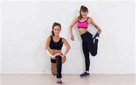 Preview wallpaper Two fitness girls, sportswear, workout