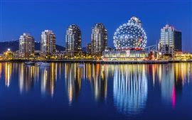 Vancouver, Yaletown, Canada, city night, museum, buildings, lights, water