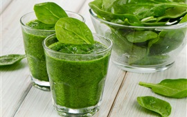 Vegetable smoothies, green, glass cups