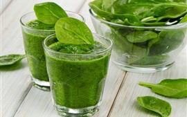 Овощные смузи, зеленый, стеклянные чашки