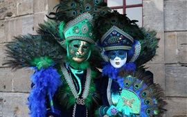 Venice culture, carnival, peacock feathers, mask, people