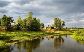 Village, grass, trees, houses, river, green