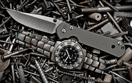 Watch, knife, screws