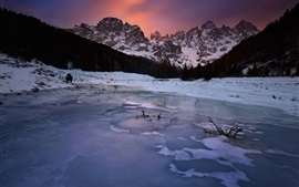 Winter, lake, ice, mountains, snow, dusk